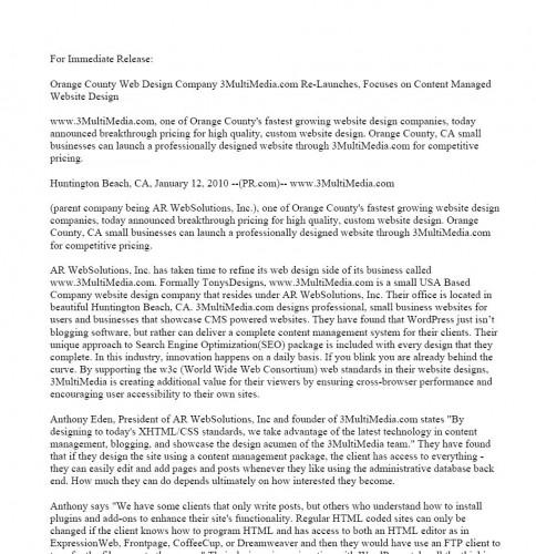 www.3MultiMedia.com Press Release